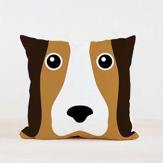 Basset Hound Cute Pillow Dog Cushion Kids Pillow by loopzart