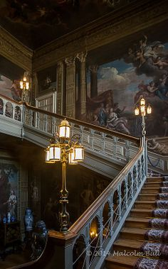 Grand Staircase - historic 17th century Petworth House, Petworth, England, UK | preserved by the National Trust