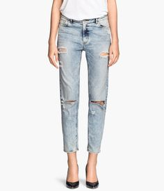 Distressed 5-pocket, low-rise jeans with washed stretch denim & ankle-length legs. | H&M Denim