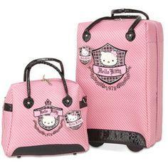 Macy's Hello Kitty Handbag | Hello Kitty Prep 1976 Travel Luggage Set Pink suitcase | eBay