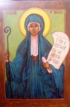 ICON - Saint Hildagard Iconogapher: Lisa Winner - Painted on solid wood with acrylic paints. Princess Zelda, Disney Princess, Disney Characters, Fictional Characters, Saints, Aurora Sleeping Beauty, Angels, Painting, Etsy