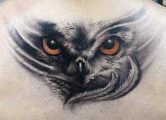 owl on back by Yomico Moreno | tattoo artist – Caracas, Venezuela