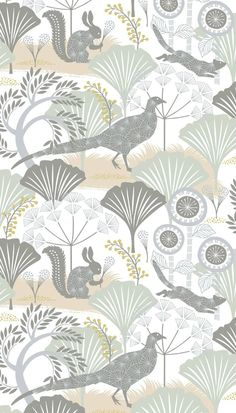 Woodland animals camouflaged amongst a forest of magical giant flowers. Shown here in soft green, brown, yellow and pink on white. Other colour ways available. Please request a sample for true colour match. A paste the wall product. Tier Wallpaper, Army Wallpaper, Nursery Wallpaper, White Wallpaper, Animal Wallpaper, Pattern Wallpaper, Beautiful Wallpaper, Woodland Nursery, Woodland Animals