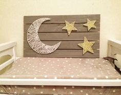 CUSTOM STRING ART by WellOwlBeCrafty on Etsy yellow gray gender neutral nursery art string art moon and star nursery Baby Girl Nursery Themes, Baby Nursery Art, Star Nursery, Baby Boy Nurseries, Nursery Decor, Nursery Ideas, Nursery Crafts, Themed Nursery, Elephant Nursery