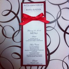 Elegant red ribbon menu card for all your events by VPElegance, $1.50 Etsy