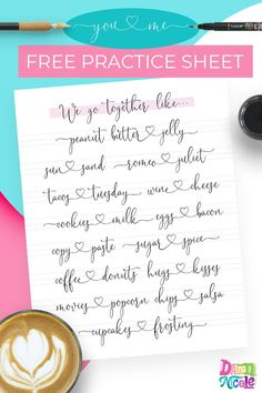 """You & Me Modern Calligraphy Practice Sheet. A cute """"We go together like..."""" practice sheet you can use with a small brush pen (like the @tombowUSA Dude), dip pen, or even a pencil! #moderncalligraphy #brushlettering #brushcalligraphy #ipadcalligraphy"""