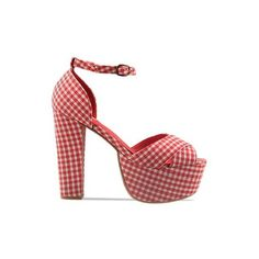 Jeffrey Campbell - El Carmen ($70) ❤ liked on Polyvore featuring shoes, pumps, heels, jeffrey campbell, red, red gingham, sexy pumps, high heel platform pumps, vintage platform shoes и red platform shoes