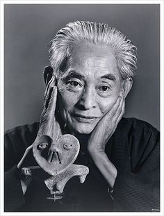 Yasunari Kawabata by Yousuf Karsh.  Kawabata was a Japanese short story writer and novelist who won the Nobel Prize for Literature in 1968, the first Japanese author to receive the award.