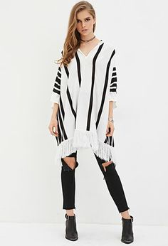 Stripe Hooded Poncho | Forever 21 - 2000158101