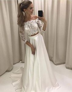 Charming Prom Dress,Two Pieces Prom Dress,Half-Sleeves Pom Dress,Lace Wedding Dress P921