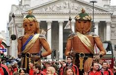 Gog And Magog. Despite their generally negative depiction in the Bible, Lord Mayors of the City of London carry images of Gog and Magog (depicted as giants) in a traditional procession in the Lord Mayor's Show. According to the tradition, the giants Gog and Magog are guardians of the City of London, and images of them have been carried in the Lord Mayor's Show since the days of King Henry V. The Lord Mayor's procession takes place each year on the second Saturday of November.