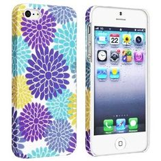 eForCity Snap-on Rubber Coated Case Compatible with Apple® iPhone® 5, Flower Rear Style 53