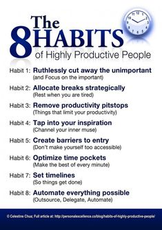 Success Motivation Work Quotes : QUOTATION – Image : Quotes Of the day – Description The 8 Habits of Highly Productive People Sharing is Caring – Don't forget to share this quote ! Self Development, Personal Development, Leadership Development, Professional Development, Life Skills, Life Lessons, Coaching Personal, Life Coaching Tools, Vie Motivation