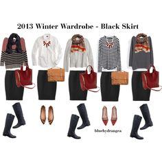 """Winter Wardrobe - Black Skirt"" by bluehydrangea on Polyvore"