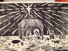 Nativity scene Lino cut Christmas card