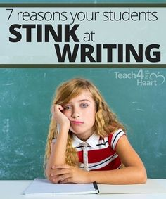 7 Reasons Your Middle Schoolers Stink at Writing (and what to do about it) Great solutions to help your students learn to write. 5th Grade Writing, Middle School Writing, Writing Classes, Middle School English, Writing Lessons, Teaching Writing, Teaching Biology, Improve Writing Skills, Writing Strategies