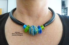 Handmade Lampwork Beads & Glass Jewelry, Muranoglasschmuck, handgefertigte Glasperlen, Schmuck aus Glas Kette Tube