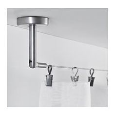 IKEA - DIGNITET, Curtain wire, Complete set with hardware and curtain wire; ready to mount to wall or ceiling.Fixture with adjustable angle for more flexible use.Can be easily cut to the desired length.