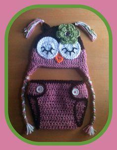 Newborn Baby Girl Crochet OWL Pink n Brown Diaper Cover -n- Beanie Hat Set -- Great Photo Prop. $28.99, via Etsy.