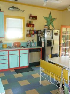 Kitchen - Marmoleum Click - Bright and loud colours inspired by New Orleans - by Jacquie from Santa Rosa CA