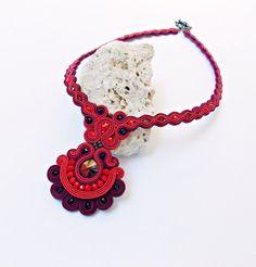 Soutache handmade jewelry. Cord necklace. Red by Soutachebypanka