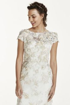 Melissa Sweet Floral Lace Applique Cap Sleeve Wedding Gown at @DavidsBridal