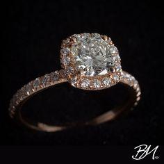 Beautiful custom 18K rose gold ring! A .36 carat halo of french-cut diamonds surrounds a stunning 1.14 cushion-cut diamond. Truly one-of-a-kind! #rosegold #diamonds #customring #engagementring #customengagementring #ring #diamond #diamondring #customjewelry #jewelry #bridaljewelry #wedding