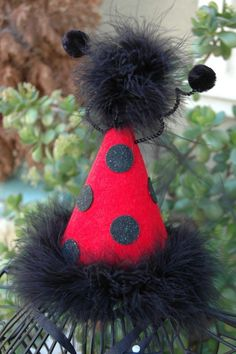 Ladybug Princess 1st Birthday Party Hat With Maribou Trim or Have Me Custom Make a Hat for Your Party Theme