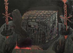 """DAWID POLONY / """"AUTOPORTRET W KLATCE ELEKTRYCZNEJ"""" / 2014 / 102 x 141 cm / akryl, olej, płótno"""