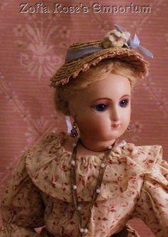 FRENCH FASHION DOLL Hat~Bonnet~Pretty for Summer~Blue Trim~Zofia Rose's Emporium