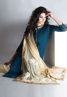 Dark Blue Faux Georgette Readymade Kameez with Straight Pant: KHT188