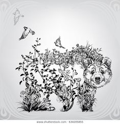 Silhouette of a bear from vegetation Bear Pictures, Angels And Demons, Illustrations, Free Stock Photos, Royalty, Images, Tapestry, Ornaments, Artwork