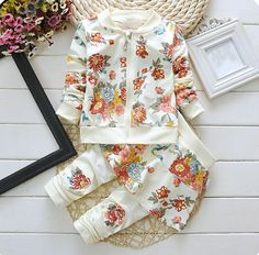 0652ab2cf4a D71703h 2015 New Arrival Girls Set Korean Floral Baby Clothes Wholesale  Children s Boutique Clothing Photo