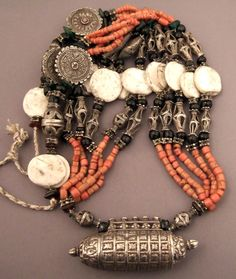 Tadjikistan | Necklace; silver, coral, shell and glass | Sold