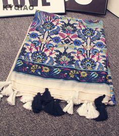 Trouver plus Foulards Informations sur KYQIAO Femmes automne hiver Espagne style  long élégant vintage bohème imprimer écharpe floral glands echarpes muffler  ... 4af75cfa380
