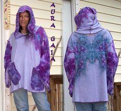 Jersey Tunic Hoody | Tunic Hoodie . Butterfly. Hemp Bamboo 4 Season Sweater Knit Jersey ...