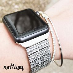 Xaltium Apple Watch bands pair well with arm party stacks! Wish we could catch the sparkle factor in photos like in real life!