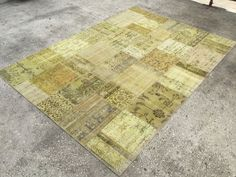Yellow, Patchwork Rug, Distressed, Anatolian Rug, Patchwork Carpet, Oushak Quality, 7'1x9'9 ft, Rug, Area Rug, 217x303 cm by EclecticRug on Etsy
