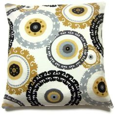 Two Black White Yellow Gold Gray Pillow Covers Decorative Circles Toss Throw Accent Covers 16 inch - Living Room