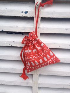 Red christmas reindeer design bag with drawstring by Kirstyflo