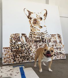 #themostfamousartist helped @chloetheminifrenchie become a famous artist today... Video and prints soon...