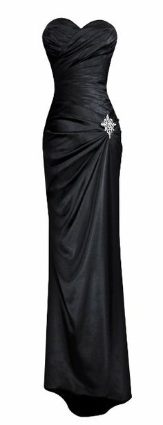 Fiesta Formals Strapless Long Satin Evening Bridesmaids Prom Formal Gown w/ Brooch: Clothing