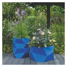 FACETED Blue faceted fibreglass planter 31 x 54cm | Buy now at Habitat UK