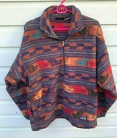 Jacket Has Bottom Sliding Hand Pockets. Remains In Good Used Shape For Age. Aztec Clothing, Patagonia Brand, Patagonia Fleece Pullover, Flannel Jacket, Oversized Jumper, Zip, 1990s, Sage, Jackets