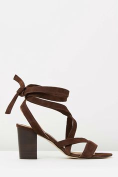 The Mode Collective - Lace Up Mid Heel In Chocolate Suede
