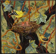 """By Denise T Havian  Artist statement: Home decor fabric as background. Tree is thread embroidered. Leaves are """"Broiderie Perse"""" - and painted. Birds are thread painted and painted using textile paint. The inspiration was spring nest building in the vineyard."""