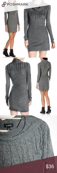 Fringe Cowl Neck Bodycon Sweater Dress NWT I love this cozy, yet sexy, bodycon sweater dress! The knit is a beautiful marbled gray & black, and the fringe off the cowel neck is a striped yarn. It also features contrasting rib knit on the ends of the sleeves, along the hemline, and on the cowl neckline. The soft knit is 100% acrylic. It's super versatile to wear both dressed up or down! I really like it styled with edgy combat boots like the model - add a moto jacket to complete the look! I'm…