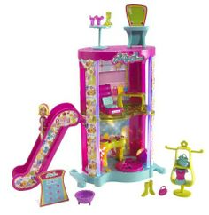 Polly Pocket Courtyard Playset by Mattel. $17.27. There's a disco/dance club with dance floor and DJ table on the first floor.. Comes with escalator to cool second floor boutique and top floor food court!. Shop and play in the multi-level, light-up courtyard. Polly doll included.. Design and build your perfect shopping destination for Polly!. From the Manufacturer POLLY POCKET DESIGNABLES Mix 'n Match Mall Playset Design and build your perfect shopping destin...