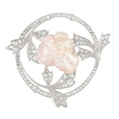Belle Epoque Platinum, Gold, Diamond and Baroque Freshwater Pearl Brooch, Georges Fouquet