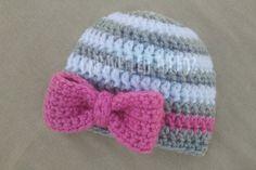 Newborn Baby Girl Hat with Bow Newborn Photo by UnravelledThredz, $17.00